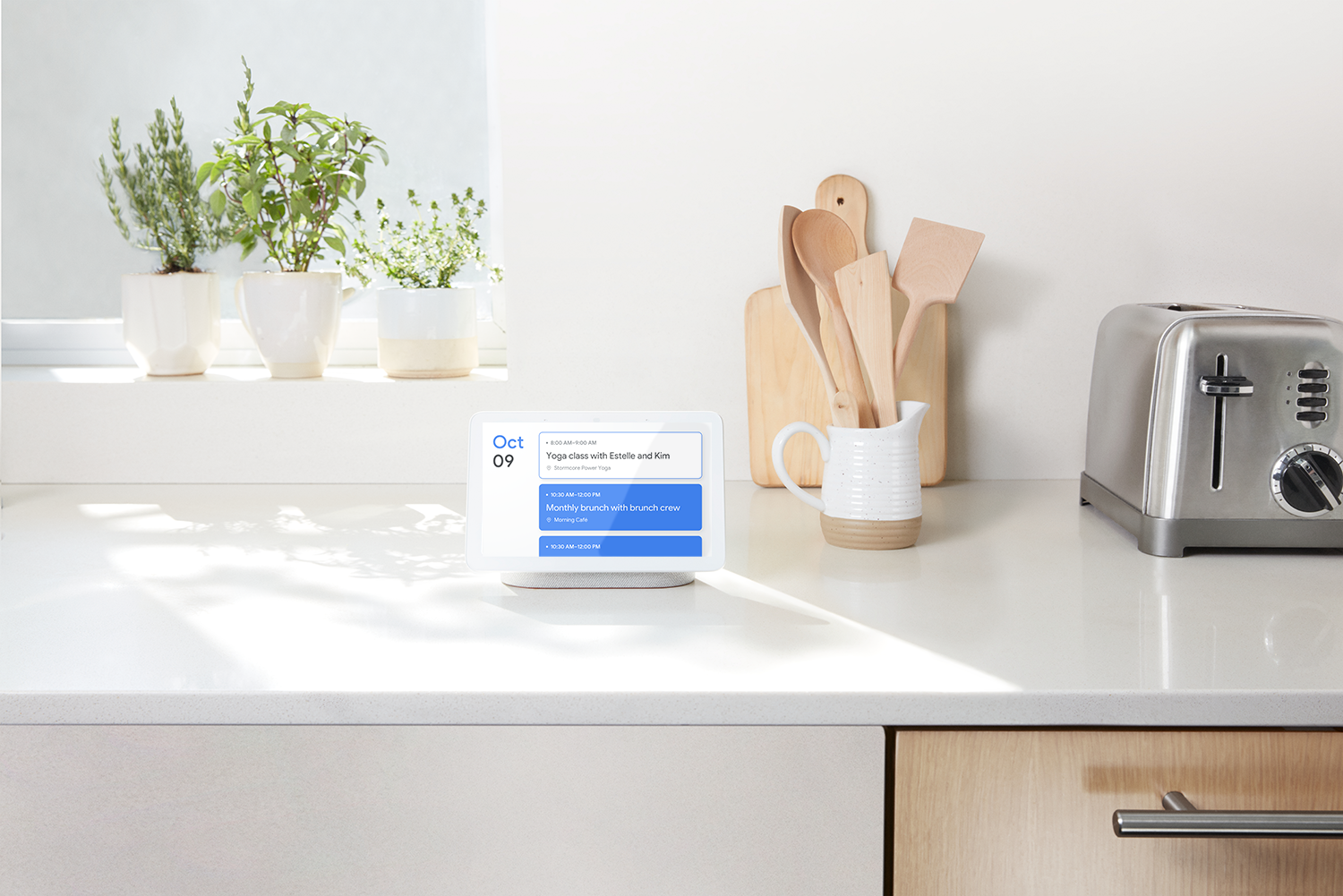 A floating stand gives the smart speaker a sense of lightness, while allowing clean audio to be ported throughout the front. (Courtesy of Google)