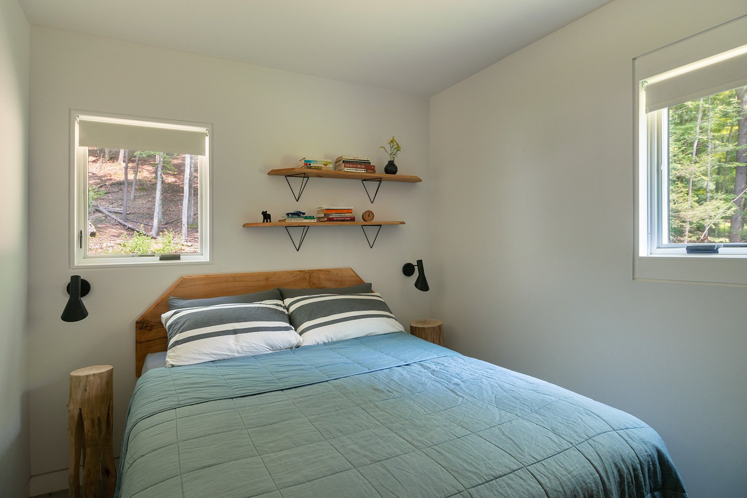 Page made the headboards and shelves out of sugar maple sourced from the property. (Bjorg Magnea)