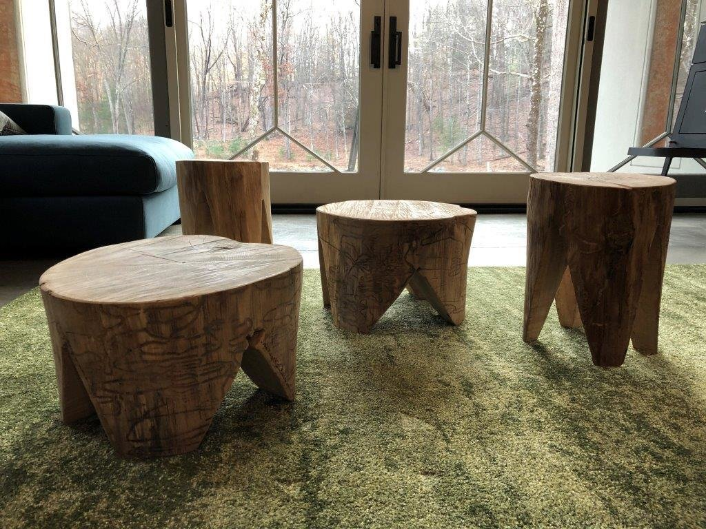 Stools made of fallen ash wood show the path of the emerald ash borers that claimed the trees. (Bjorg Magnea)