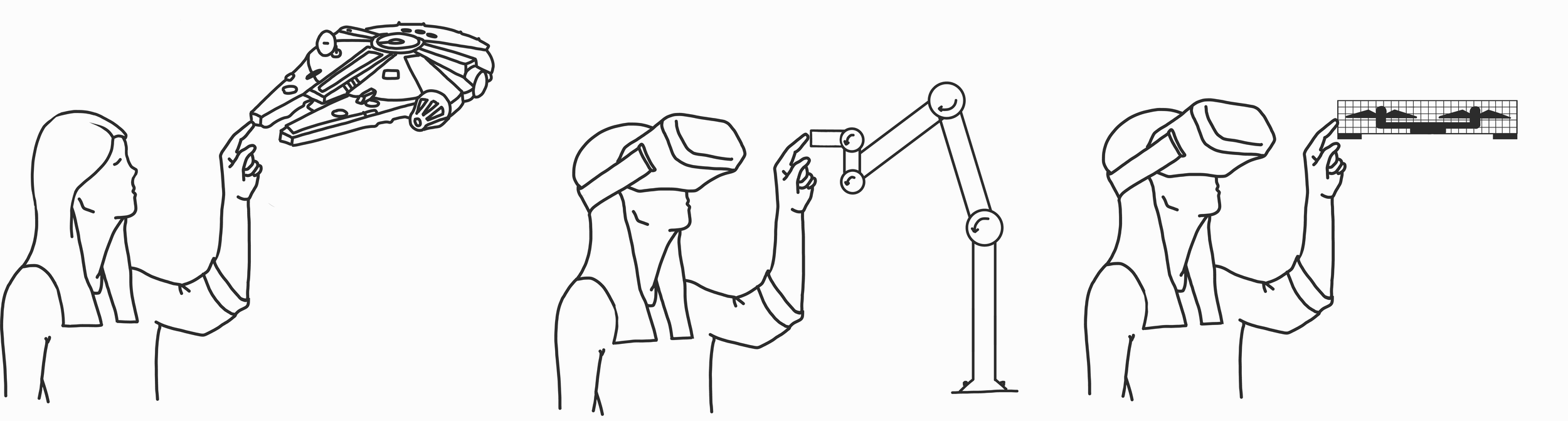 Left: In virtual reality, user touching a virtual object. Middle: In the real world, user touching a grounded robotic arm. Right: In the real world, user touching a safe-to-touch drone.