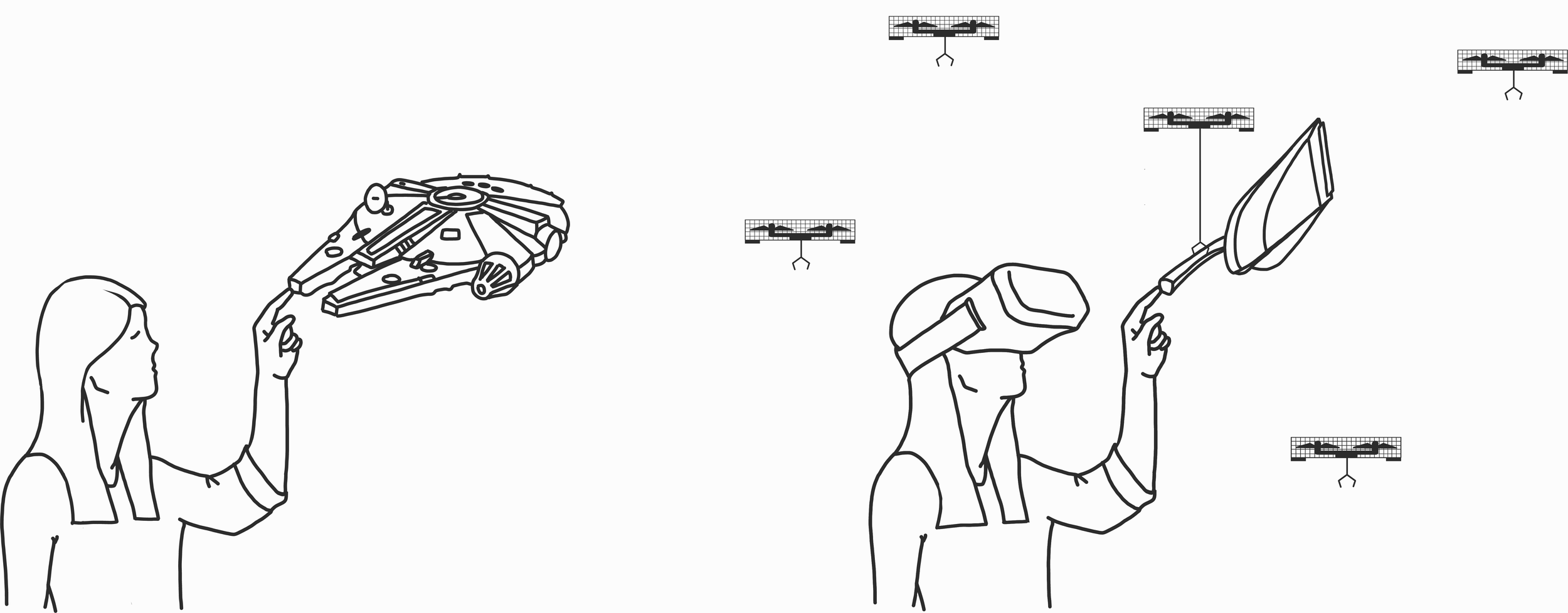 Left: In virtual reality, user touching a virtual object. Right: In the real world, an object (with a similar shape) has been detected, picked up, and presented by one of the drones.