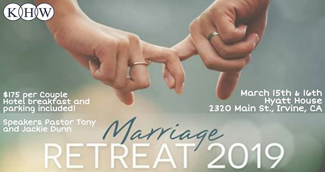 RESGISTRATION IS OFFICIALLY CLOSED! thank you for those who have registered and we hope you are as excited as we are for this year's Marriage Retreat! See You There!