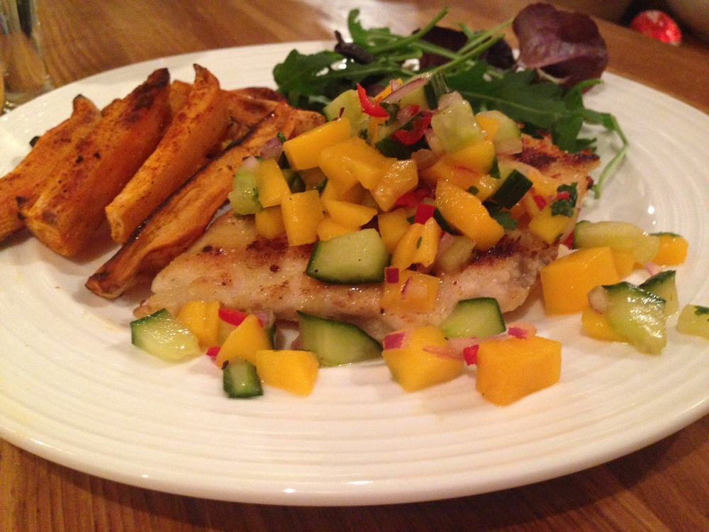 Crispy Garlic Chicken with a Spicy Mango Salsa