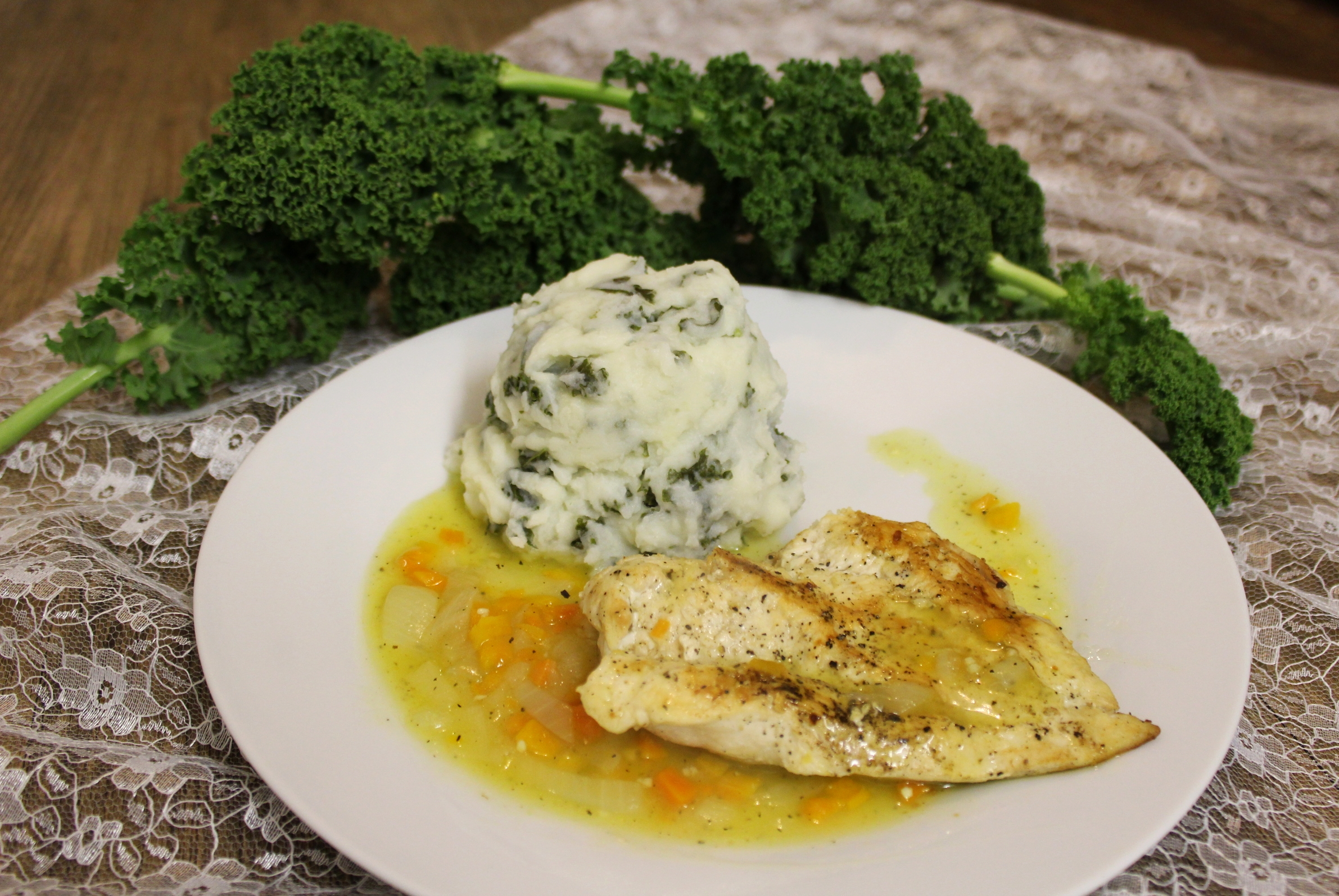 Butterfly Chicken with Onion Gravy & a Kale Mash