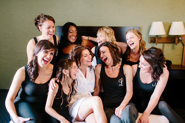 Bridal Party having fun in a hotel