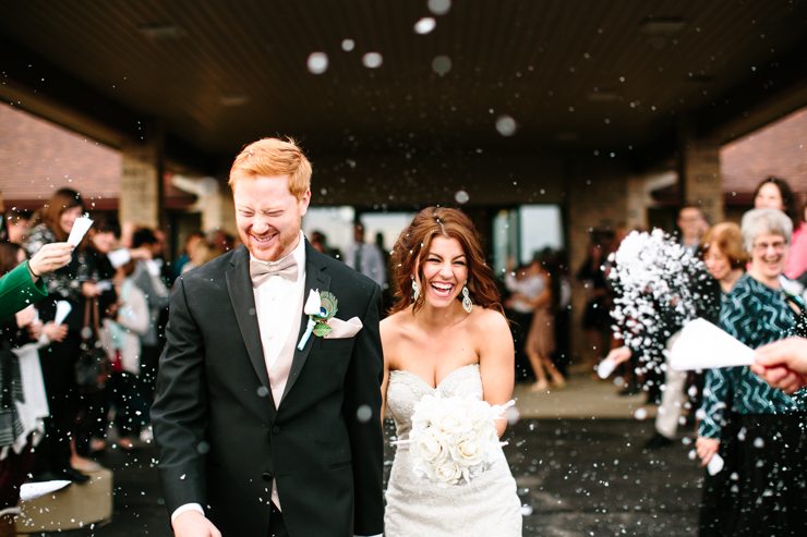 Bride and Groom Exiting to Confetti