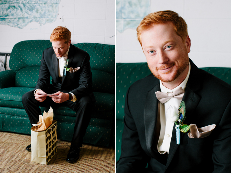 Groom opening up his wedding gifts