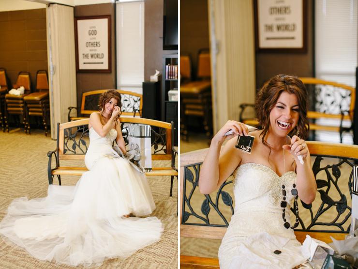 Bride opening her wedding gift