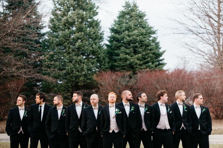 Groomsmen wearing formal tuxes
