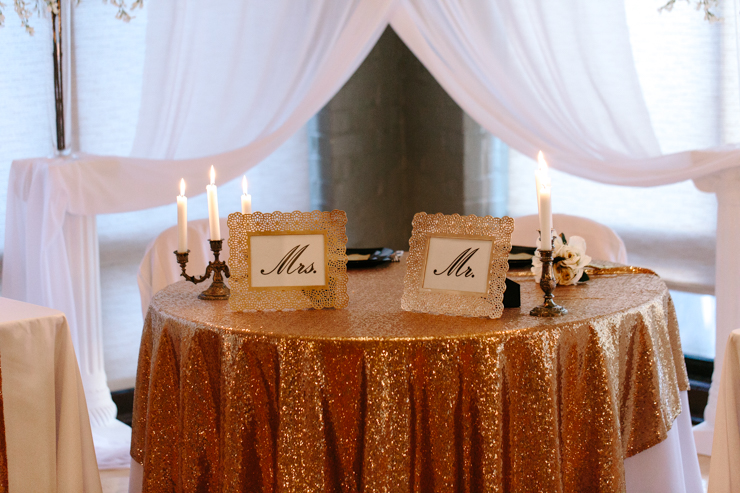 Mr. and Mrs. table decor at reception