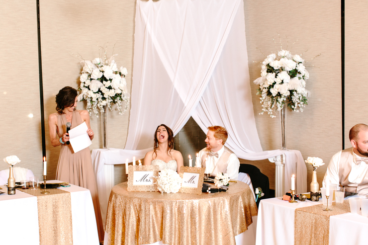 Matron of Honor giving wedding toast