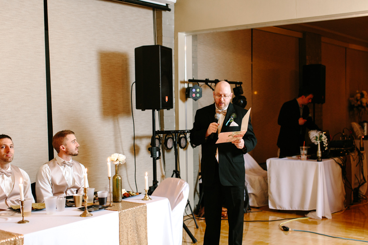 brother singing a song to the bride and groom