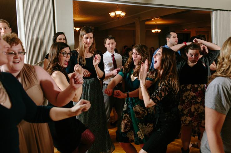 girls dancing at a wedding reception