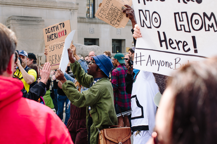 Protesters in St. Louis, Missouri at a Donald Trump Presidential RallySt. Louis, Missouri Donald Trump Rally 2016