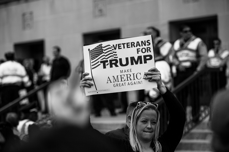 Protesters at the Donald Trump Presidential Rally in St. Louis, Missouri