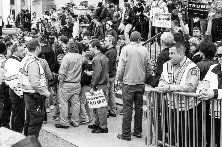 Protesters and Policemen at the Donald Trump Presidential Rally in St. Louis, Missouri