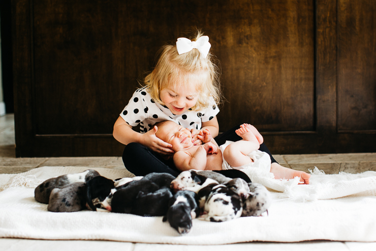 Newborn baby and puppies
