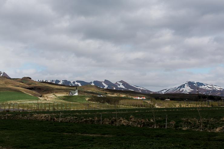 Mosfell Church on a hill, Iceland