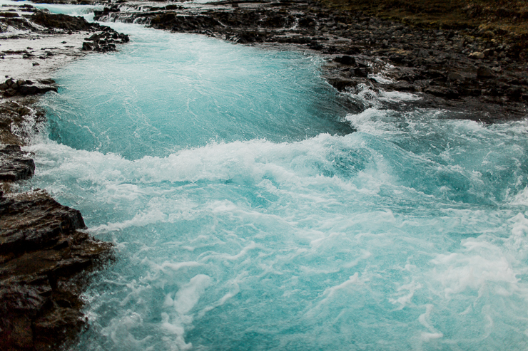 Bruarfoss, incredibly blue water waterfall in Iceland