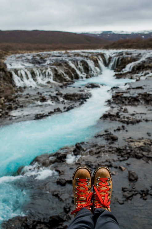 Danner boots at Bruarfoss, incredibly blue water waterfall in Iceland
