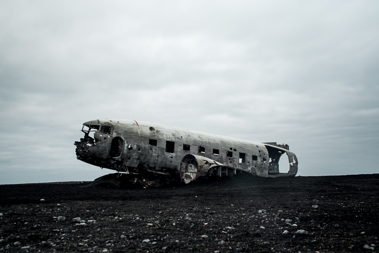 Wrecked DC3 US Navy Plane on the black beach, Solheimasandur, Iceland