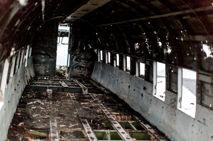 inside the Wrecked DC3 US Navy Plane on the black beach, Solheimasandur, Iceland