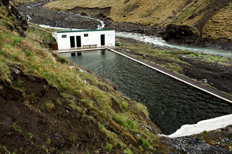 photography of Seljavallalaug 1923 geothermal pool, Iceland