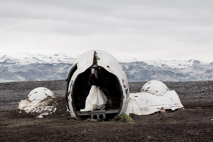 Bride at the US Navy DC3 Wreckage at Solheimasandur, Iceland