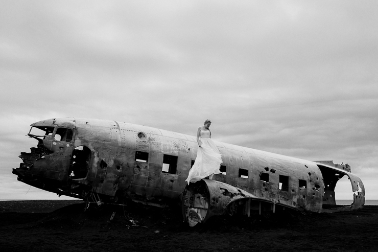 Bride at the US Navy DC3 Wreckage at Solheimasandur, Iceland