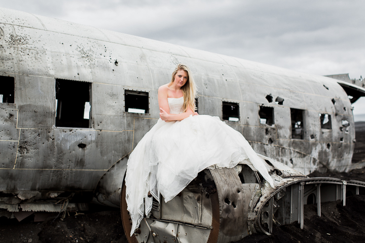 Wedding photos at the US Navy DC3 Wreckage at Solheimasandur, Iceland