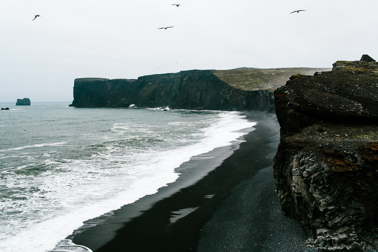 Black beach in Dyrholaey, south Iceland