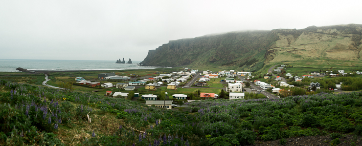 View of the town of Vik, southern Iceland