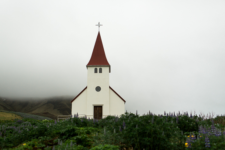 Church on a hill in Vik, Iceland