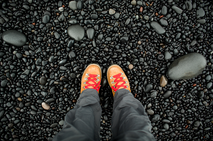Women Danner Boots in Iceland at the black beach