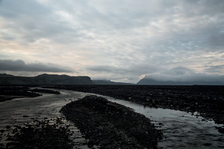 windy rivers through the black sand in southern Iceland