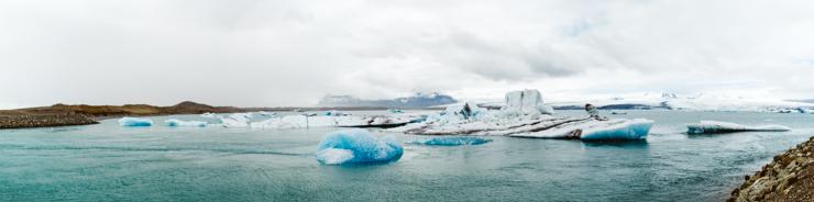 Panorama of Jokulsarlon Glacier Lagoon, Iceland