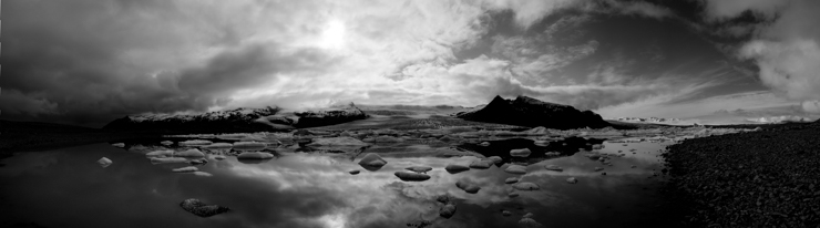 Black and White panorama of Fjallsárlón glacier lagoon, Iceland