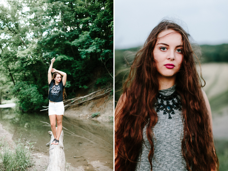 Midwest Summer Senior Girl Photography Session in a creek