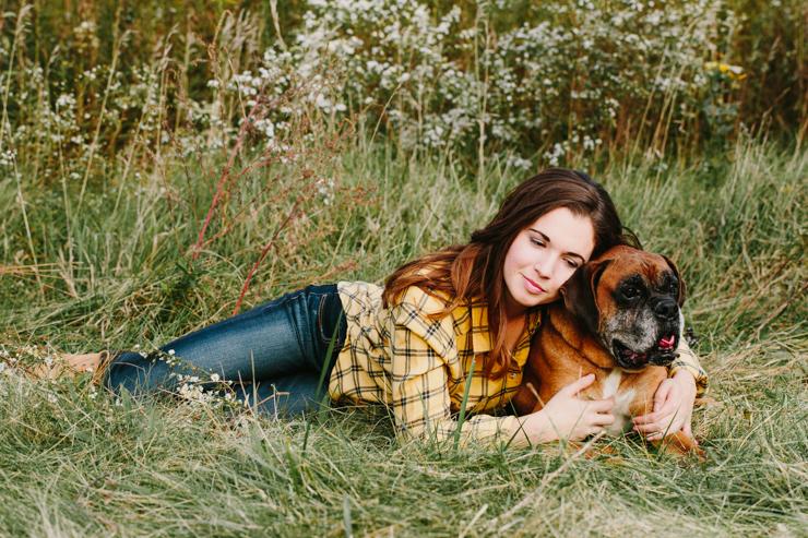 Senior Girl Photography Poses with dog by Meredith Washburn Peoria, Illinois