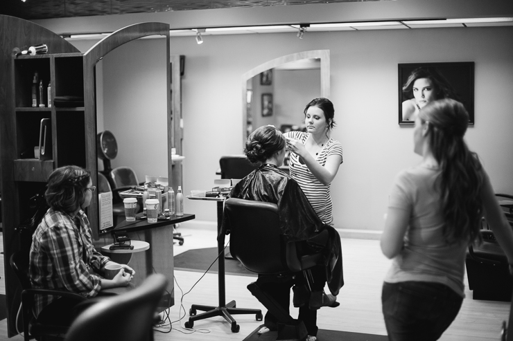Kansas City Bride Getting Ready at Hair Salon
