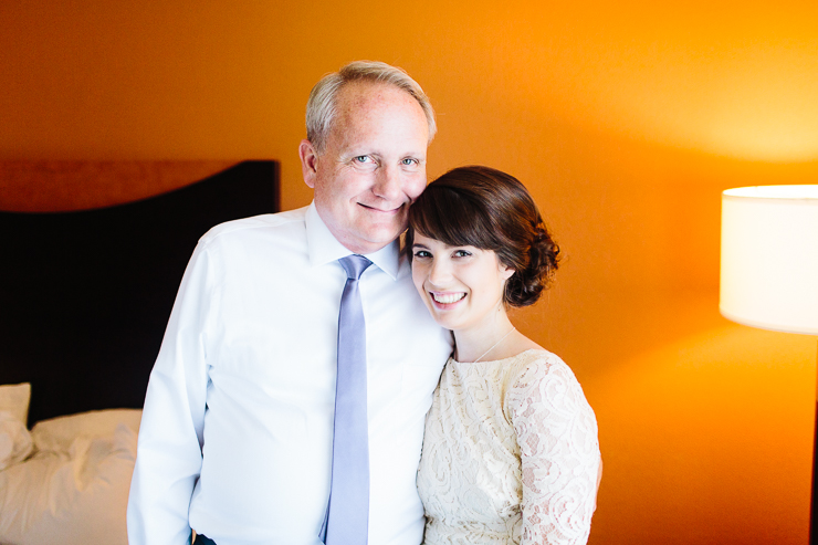 Bride with her father on her wedding day