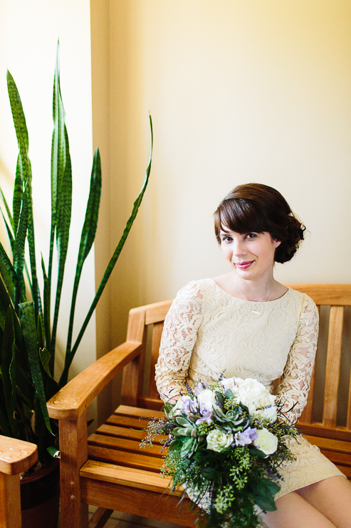 Bride waiting to see her husband