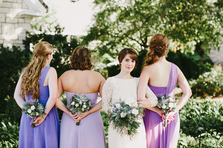 Bridal Party with Short Purple Garden Dresses