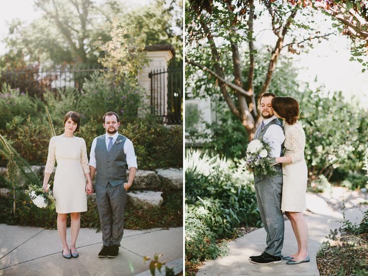 Bride and Groom Portraits outdoor garden Kansas City