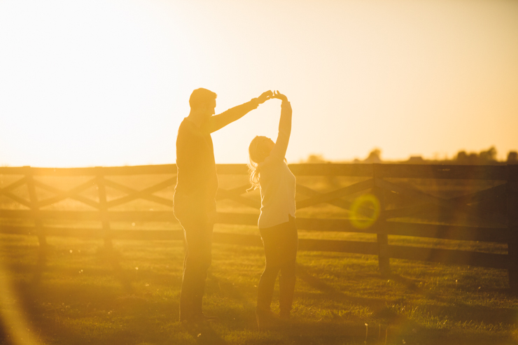 Nolan and Alyssa's Rustic Countryside engagement session at sunset dancing