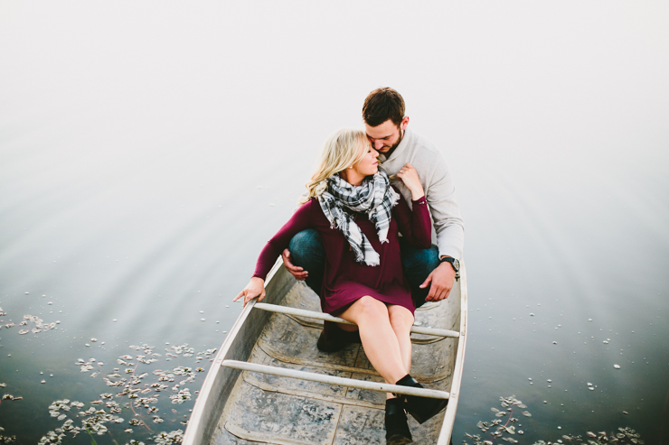 Nolan and Alyssa's Rustic Countryside engagement session in a canoe