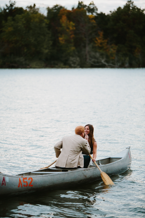 intimate countryside engagement in a canoe