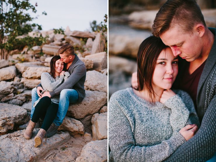 Engagement Photos snuggling on rocks down by the river Peoria IL