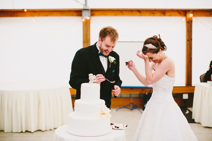 Bride and Groom cutting the cake a Kickapoo Creek Winery, Edwards, IL