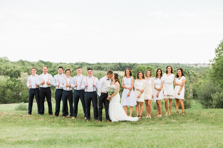 Bridal Party during rustic chic boho outdoor countryside wedding ceremony